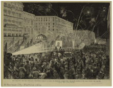 17. Corpi in marcia: elezioni a New York City, 1876. The Great Democratic Procession for Tilden, 1876. New York Public Library Picture Collection, New York City.